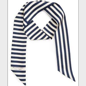 Burberry Silk Scarf Skinny Striped Twilly